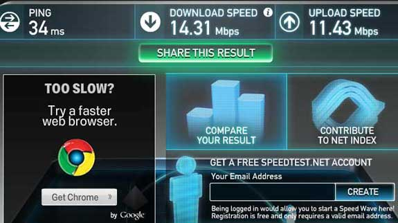 Beam Fiber speed test